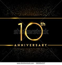 ten years anniversary celebration logotype. 10th anniversary logo with confetti golden colored isolated on black background, vector design for greeting card and invitation card