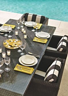 The cool, contemporary look of our Metropolitan Panther Dining Collection is an enduring choice for dining outdoors. | Frontgate: Live Beautifully Outdoors