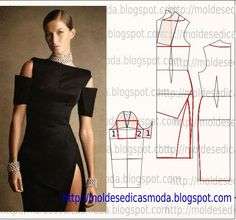 TRANSFORMAÇÃO DE VESTIDO-153 ~ Moldes Moda por Medida Cross shaped Bust Dart Dress with Thigh split