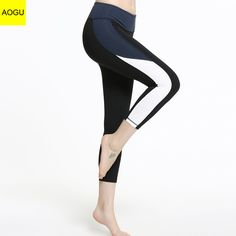 a72cd15367 Vertvie Women's Fitness Compression Side Patchwork Pants Calf Length  Elastic Sport Gym Leggings Quick Dry Push Up Yoga Pants