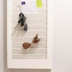Turn an old shutter into a wall organizer. Gotta love 15 minute, high-impact projects!