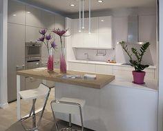 61 brilliant little kitchen ideas that you surely love 14 - Kitchen Decor Small Modern Kitchens, Elegant Kitchens, Home Kitchens, Interior Design Kitchen, Kitchen Decor, Kitchen Ideas, Zen Kitchen, Little Kitchen, Cuisines Design