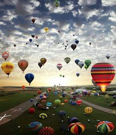 Hot air balloons in Chambley, France.
