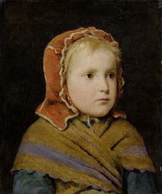 Girl in a red cap, ca 1866 by  Albert Anker (Swiss,1831 - 1910)