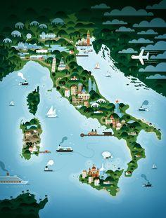 Impressive Map Illustrations By KHUAN+KTRON | ITALY / http://www.yatzer.com/khuan-ktron