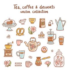 Coffee Illustration, Cute Illustration, Dessert Illustration, Kawaii Doodles, Cute Doodles, Bullet Journal Art, Bullet Journal Ideas Pages, Doodle Icon, Doodle Art