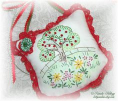 Apple Tree Door Hanging Pillow Hand Embroidered Bead by Kittyandme, $27.95