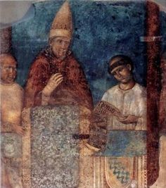 """Pope Boniface VIII at the 1300 jubilee with a """"Tartar cloth"""" in front of him, with a """"rhythmic Sino-Mongolian pattern""""."""