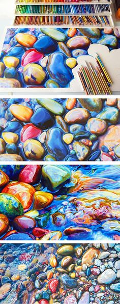 Not Your Average Drawing of a Rock: Colorful Riverbeds Drawn with Pencil by Ester Roi