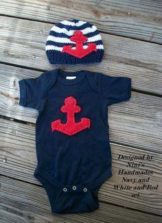 ANCHOR Set Baby hat and baby onesie Newborn by NinisHandmades