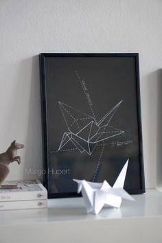 crane origami, żuraw origami