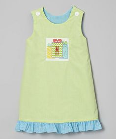 Take a look at this Lime Green Gingham Presents Initial Jumper - Infant, Toddler & Girls by Wish Upon a Star on #zulily today!
