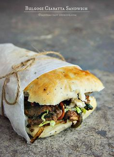 Bulgogi Ciabatta Sandwich. This looks delicious. It's a Korean meat, on a Ciabatta roll. Yum.