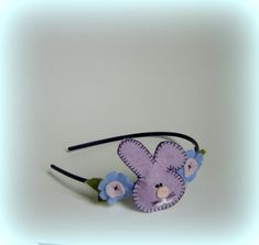 Baby blue headband Purple pink bunny easter Girls hairband flower headbands Handmade hair band light violet Girl flowers accessory Felted