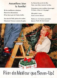 Vintage French Christmas themed ad for Seven-Up soda pop (1959). #vintage #1950s #food #drinks #Christmas #ads