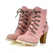 $21.49 Winter Round Toe Rivets Lace Up Chunky High Heel Pink Suede Short Martens Boots