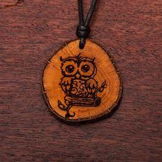 Eule - Ketten Holzschmuck aus Naturholz / Anhänger Washer Necklace, Vegan, Jewelry, Chains, Owls, Handmade, Ring, Wristlets, Jewlery