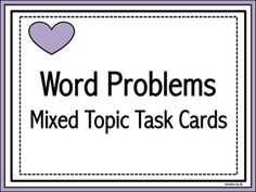 Can't find enough word problems? If you are like me, it is a difficult task to gather enough word problems to provide an adequate amount of that much needed practice. Middle School, High School, Math Word Problems, School Grades, Teaching Tools, Task Cards, Madness, Self, Success