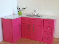 "L Shaped corner kitchen set, Dollhouse furniture, 1:6 scale, 12"" dolls"