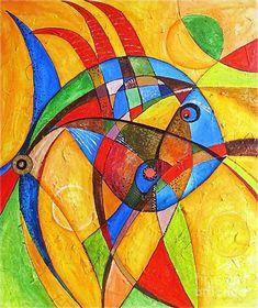 Fish marucii Canvas Print / Canvas Art by Marek Lutek Arte Pop, Fish Art, Geometric Art, Mosaic Art, Art Images, Watercolor Paintings, Fish Paintings, Canvas Paintings, Modern Art