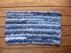 Recycled  Jeans Rug Crochet Upcycled Denim Blue by LittlestSister, $65.00