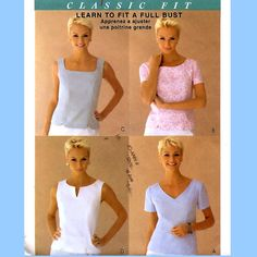 796 McCalls 2818 Womens Classic Princess Seam Tops sizes 14 16 18 Bust 36 38 40 Average to Plus Size Palmer & Pletsch Sewing Pattern Uncut by ladydiamond46 on Etsy