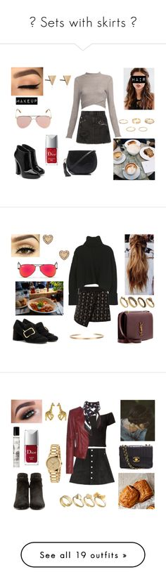 """""""💕 Sets with skirts 💕"""" by milena-serranista ❤ liked on Polyvore featuring River Island, Marc Jacobs, Giuseppe Zanotti, Le Specs, Christian Dior, Rachel Jackson, REGALROSE, Rebecca Minkoff, Prada and DesignSix"""