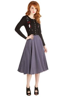 Freshly Baked Bundt Skirt. Baking always seems sweeter when you're wearing the fine white dots of this navy-blue midi skirt under your apron. #blue #modcloth