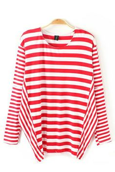 Stripe Print O-Neck Bat Sleeves Loose T-shirt