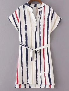 Striped Dress With Belt #womensfashion #pinterestfashion #buy #fun#fashion