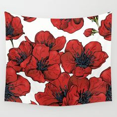 Poppies Pattern Wall Tapestry by MIKART | Society6
