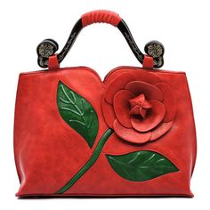 e98e2c497cd Red 3D Flower Blossom Wooden Top Handle Bag (784.800 IDR) ❤ liked on  Polyvore