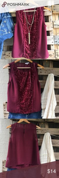Vintage Lace & Mesh Burgundy Tank Tank top with beautiful vintage velvet accent!♻️All orders will be shipped with 100% USA recyclable packaging. Lace & Mesh Tops Tank Tops