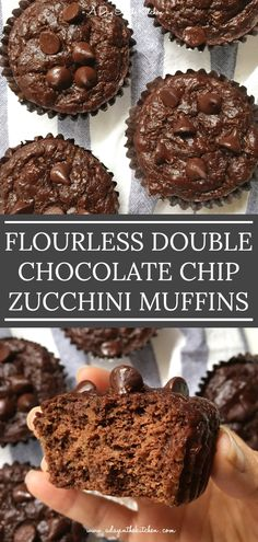 Chocolatey and moist, Double Chocolate Chip Zucchini Muffins are not only flourless, they're delicious! One bite and you won't believe they're gluten-free! Zucchini Muffins, Zucchini Chocolate Chip Muffins, Butter Chocolate Chip Cookies, Chocolate Muffins, Healthy Dessert Recipes, Gourmet Recipes, Breakfast Recipes, Free Recipes, Healthy Cake