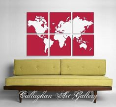 Giant map on canvases.    Awesome wall art.....hideous couch