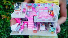 HOW TO MAKE A DIY FLAMINGO THEME MINIATURE HOUSE KIT WITH LOFT / Nanay Qhey Kit Homes, Flamingo, Diys, Miniatures, Loft, Make It Yourself, How To Make, House, Design