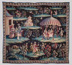 Attributed to John Vanderbank Soho Tapestry Wool and silk 240 x 260 cm England, circa 1700 Antique Clocks, Art Fair, Art Market, Tapestries, Chinoiserie, Soho, Damask, Textiles, Rugs