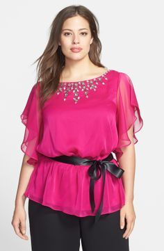 Adrianna Papell Jeweled Chiffon Blouse (Plus Size)   Nordstrom