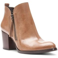Donald J Pliner Women's Edyn- Tan Dist. Metallic Calf (9) ($149) ❤ liked on Polyvore featuring shoes, boots, ankle booties, ankle boots, bootie, leather, metallic, tan dist. metallic calf, western ankle boots and leather booties