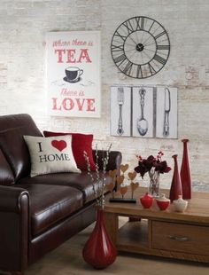 love the rustic feel, and the rich red with dark brown leather, cute accents