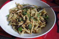 Trofie past with pesto and aubergine