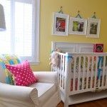 I want these colors in bugs room when she moves into toddler bed. Turquoise yellow and a rich pink