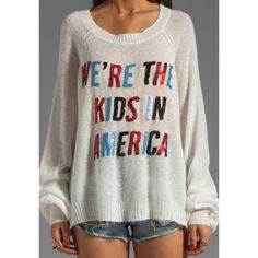 Wildfox American Kids Sweater Absolutely beautiful Wildfox sweater with sequin lettering. This sweater is no longer sold and was sold out! Rare hard to find Wildfox collectors piece. Worn only three times. Great condition. Size XS but runs big! Grab it before it's gone! No returns. Wildfox Sweaters