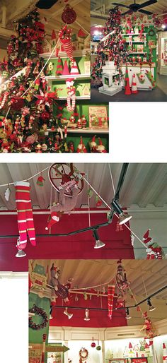 I like the idea of elves, stockings, toys, and other decorations hanging from the ceiling or on some pully string