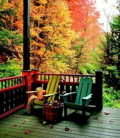 Autumn Porch, The Adirondacks, New York