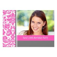 Pink Grey Photo 18th Birthday Party Invitation