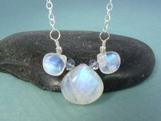 Rainbow Moonstone Heart Briolette Cluster by RazzleBedazzle, $32.00