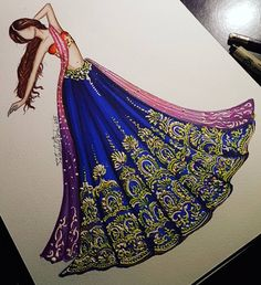 Fashion Drawing Ideas Sketches Dress Illustration Ideas For 2019 Arte Fashion, New Fashion, Trendy Fashion, Indian Fashion, Ethnic Fashion, Fashion Fashion, Dress Illustration, Fashion Illustration Dresses, Street Style Inspiration