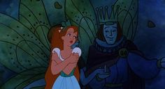 Thumbelina (Jody Bensen) singing about a prince her size in Don Bluth's production of 'Thumbelina'
