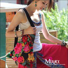 Original étnico Hmong bordado de Miya monedero del bolso del bolso del shoulderbag - Floración